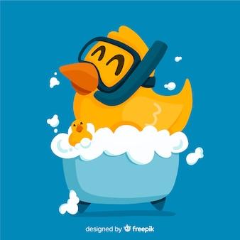 Pato de goma amarillo plano en bañera
