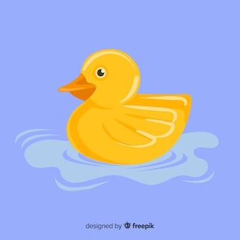 Pato de goma amarillo plano