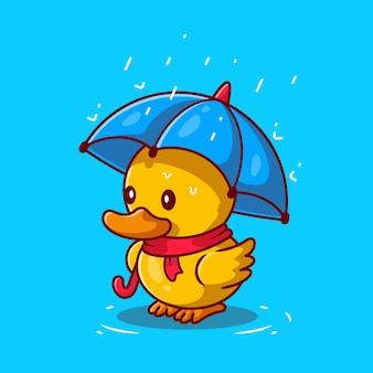 Pato lindo con paraguas en la ilustración de icono de dibujos animados de lluvia