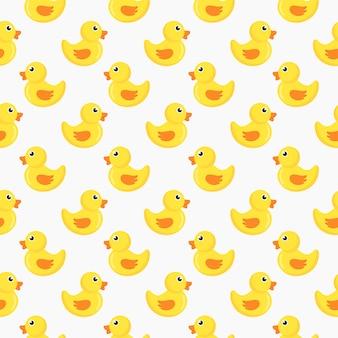 Patos lindos de patrones sin fisuras aisladas sobre fondo blanco.