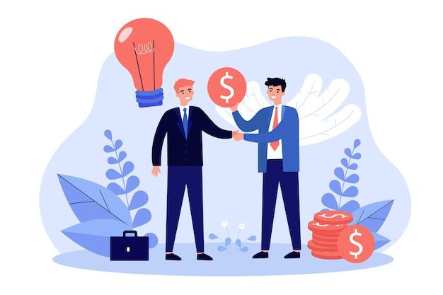 Patrocinador ángel invirtiendo dinero en la puesta en marcha. inversor dando apoyo financiero al emprendedor, comprando ideas.