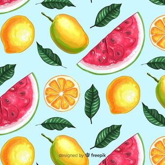 Patrón 2d de frutas tropicales