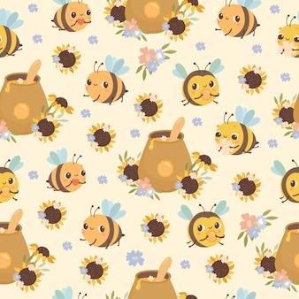 Patrón de abejas y flores de miel