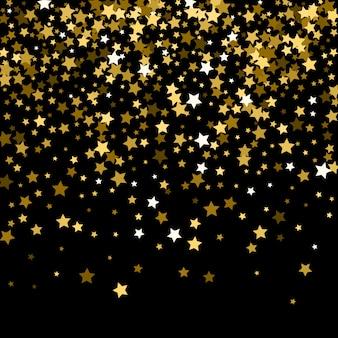 Patrón abstracto de estrellas de oro cayendo al azar en negro.
