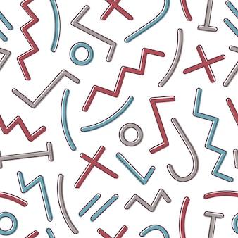 Patrón abstracto sin fisuras con coloridas formas geométricas y líneas