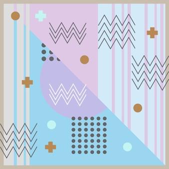 Patrón abstracto con memphis 90 colores pastel