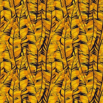 Patrón abstracto de plumas doradas. vector ilustración perfecta