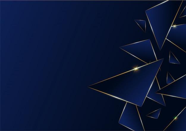 Patrón abstracto poligonal línea dorada de lujo con azul oscuro.