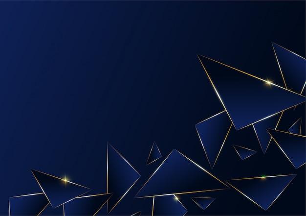 Patrón abstracto poligonal línea de oro de lujo.