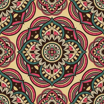 Patrón abstracto vintage con mandalas.