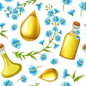 Patrón de aceite de linaza, semillas de lino y flores.