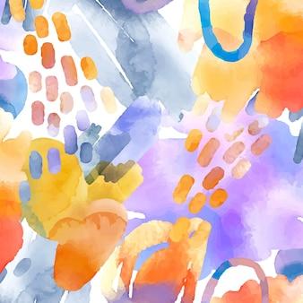 Patrón de acuarela abstracta con diferentes formas