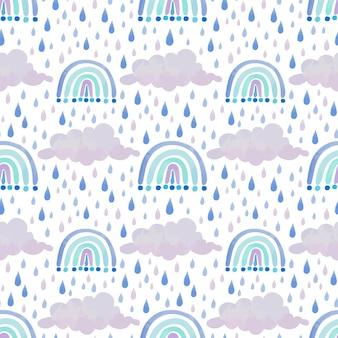 Patrón de acuarela arco iris azul con nubes y gotas de lluvia