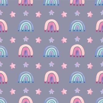 Patrón de acuarela con arco iris y estrellas