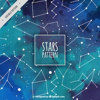Patrón de acuarela con constelaciones