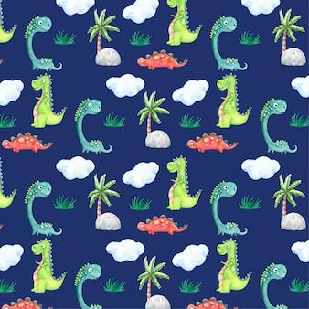 Patrón de acuarela de dibujos animados de dinosaurios