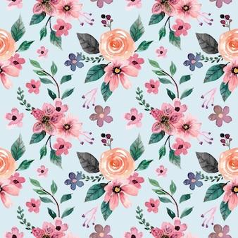 Patrón de acuarela floral rosa melocotón
