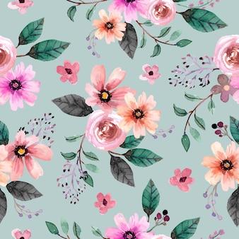 Patrón de acuarela floral rosa rosado