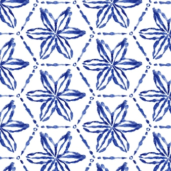 Patrón de acuarela floral shibori