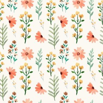 Patrón de acuarela de flores de color amarillo anaranjado