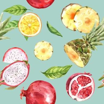 Patrón con acuarela de frutas amarillas y rojas, plantilla de ilustración colorida