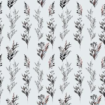Patrón de acuarela negra floral salvaje inconsútil