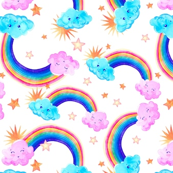 Patrón de acuarela con nubes, arco iris y estrellas