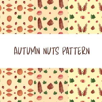 Patrón de acuarela de nueces de otoño