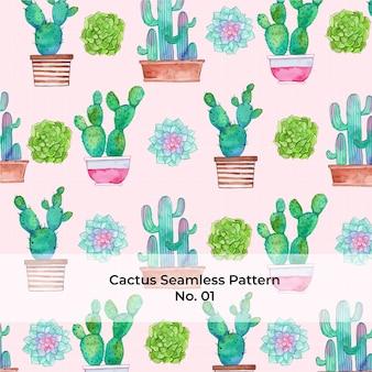 Patrón de acuarela rainbow cactus no. 1