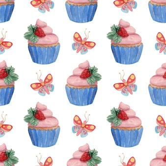 Patrón de acuarela transparente brillante con mariposas, fresas y cupcakes