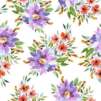 Patrón de acuarela transparente con flores
