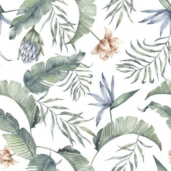 Patrón de acuarela tropical verdor hoja de palma exótica. flor de protea, hoja de plátano
