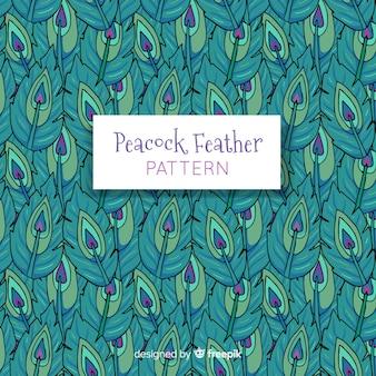 Patrón adorable de plumas de pavo real dibujadas a mano