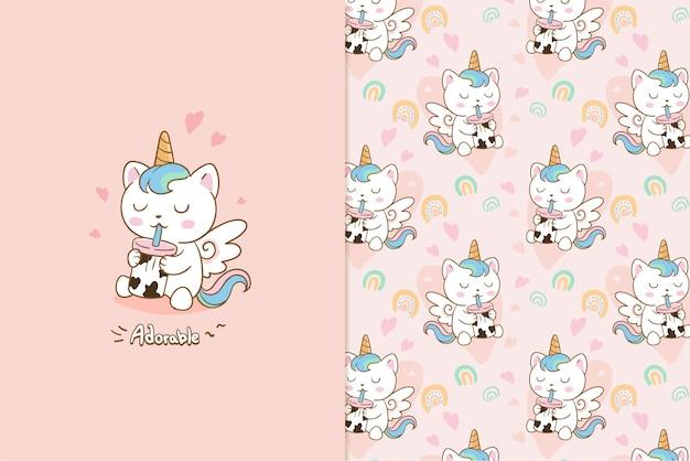 Patrón adorable gato unicornio