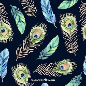 Patrón adorable de plumas de pavo real en acuarela