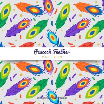 Patrón adorable de plumas de pavo real dibujado a mano