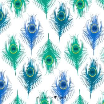Patrón adorable de plumas de pavo real con diseño plano