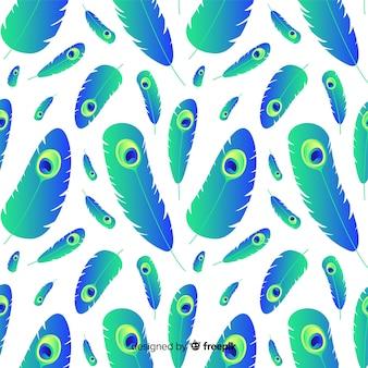 Patrón adorable de plumas de pavo real con estilo de degradado