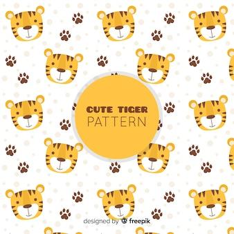 Patrón adorable de tigre con diseño plano