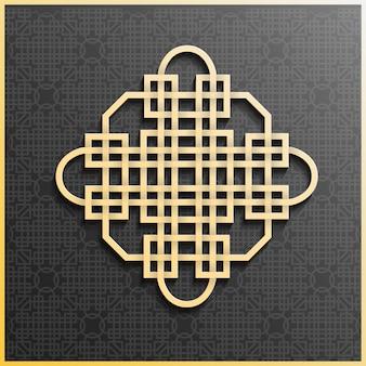 Patrón de adorno árabe plateado sobre un fondo gris