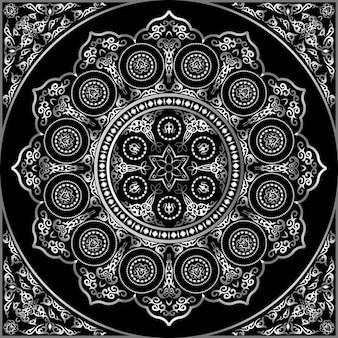 Patrón de adorno redondo gris sobre negro - árabe, islámico, estilo oriental