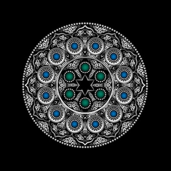 Patrón de adorno redondo de plata en 3d con gemas azules y verdes: árabe, islámico, estilo oriental