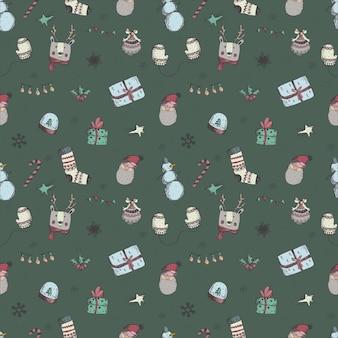Patrón de ahogamiento de mano de navidad y año nuevo sin costuras