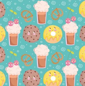Patrón de alimentos divertidos dibujos animados lindo galleta batido donut y pretzel ilustración vectorial