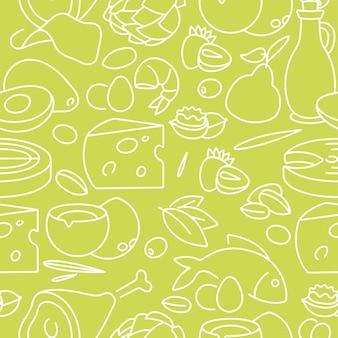 Patrón de alimentos e ingredientes saludables sobre fondo verde claro