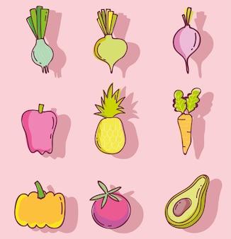 Patrón de alimentos, frutas y verduras, nutrición fresca, iconos de línea y relleno establecen ilustración