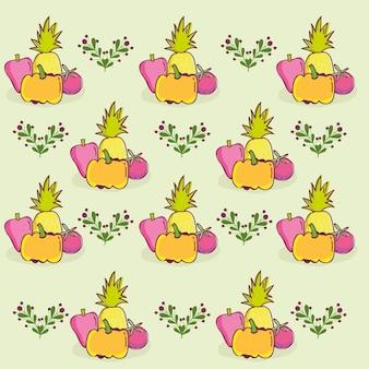 Patrón de alimentos, pimiento decorativo de piña y calabaza y ilustración de plantilla de tomate
