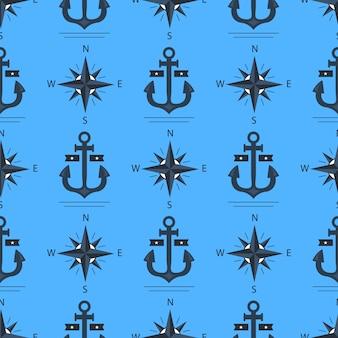 Patrón de ancla marina