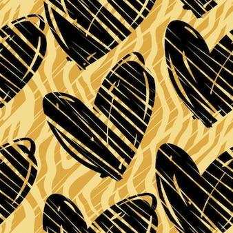 Patrón animal con corazones negros