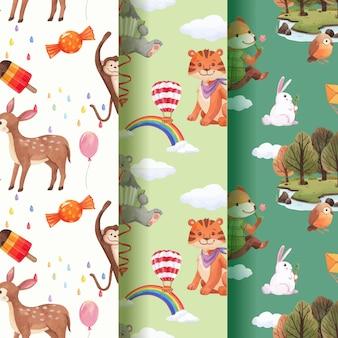 Patrón con animales felices concepto acuarela ilustración